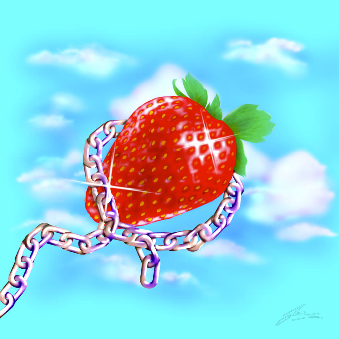 Strawberry with a chain wrapped around it, floating in front of a bright blue sky, in an airbrush vintage 70s style